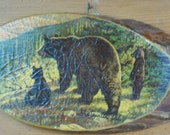 Adirondack Bears Picture on Log Slice with Bark Edges Vintage Rustic  3 bears momma & cubs wall hanging plaque Log Cabin Lodge Northwoods