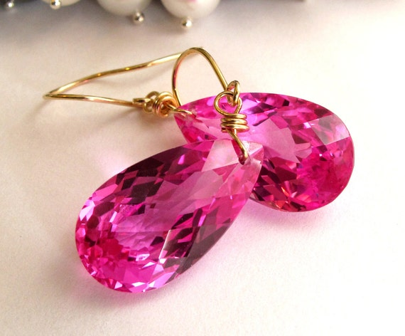 RESERVED FOR MARIA - 14k Solid Gold Pink Topaz Earrings, Pink Topaz Earrings, 14k Earrings