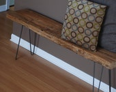 """Reserved LIsting for Tuscan and Erin: 2 of the 60"""", Modern Industrial rustic wood bench with mid century styled steel hairpin legs"""