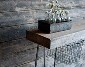 Industrial Console table with reclaimed wood top, hairpin legs, locker basket.(free shipping)