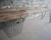 4 ft Industrial Bench with suspended vintage wire locker basket and hairpin legs(free shipping)