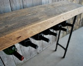"Custom 3 ft Industrial Reclaimed Wine Bar and Rack (150 year plus ""old growth"" wood)"