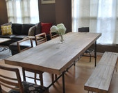 "Custom Industrial Reclaimed Wood Dining Table,2.5"" thick top(150 year plus ""old growth"" wood)"