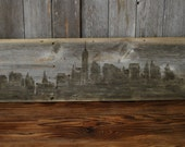 "Limited Edition Modern Rustic New York Skyline Painting on Reclaimed Gray Wood Panel, 48"" x 12"""