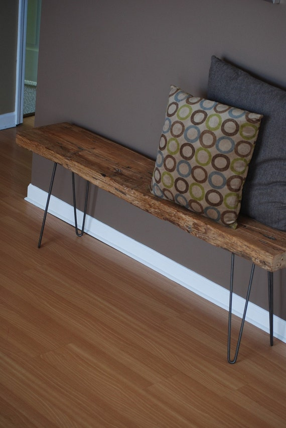 Rustic Wood Bench made with reclaimed wood and steel hairpin legs  Choice  of size  wood thickness and finish. Rustic Wood Bench made with reclaimed wood and steel hairpin