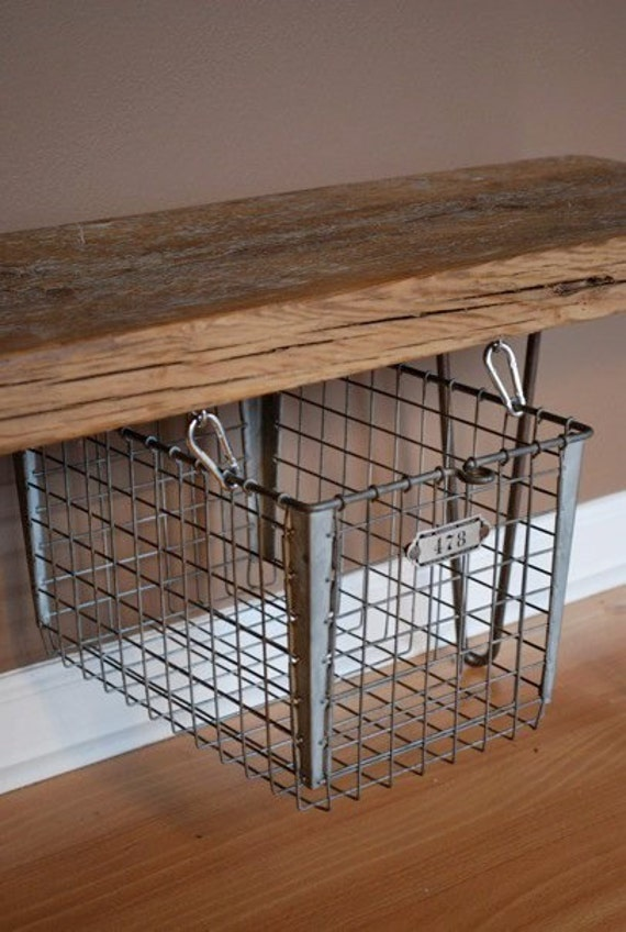 Modern Rustic Reclaimed Wood Bench With Suspended Floating