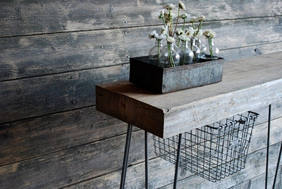 "3 ft .Industrial Console table with 2.5"" thick reclaimed wood top, hairpin legs, locker basket.(free shipping)"