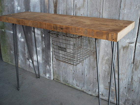 """32"""" x 11.5 x 30 tall Industrial Console table with sliding locker basket mid century styled hairpin legs, free shipping"""