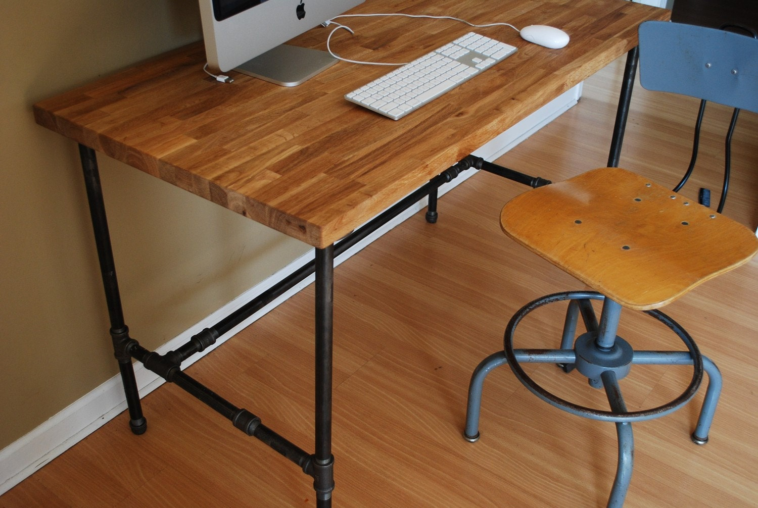 industrial desk with oak top and steel pipe legs. Black Bedroom Furniture Sets. Home Design Ideas