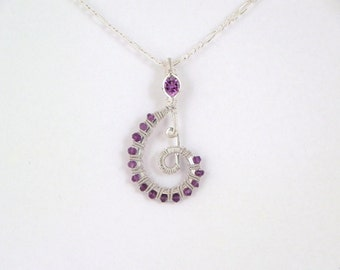 Faceted amethyst sterling argentium silver wire wrap pendant