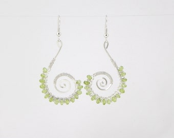 Micro Faceted Peridot Beaded Sterling (Argentium) Silver Wire Wrap Earrings