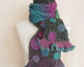 Hand knit scarf, one of a kind, ruffle and flowers - pink, turquoise, green, purple, multicolor
