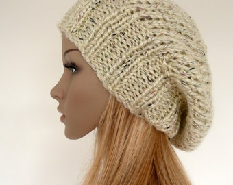 Knit Slouchy Hat  Slouch beanie  cream slouchy hat Womens hat - womens gift for her - womens hat