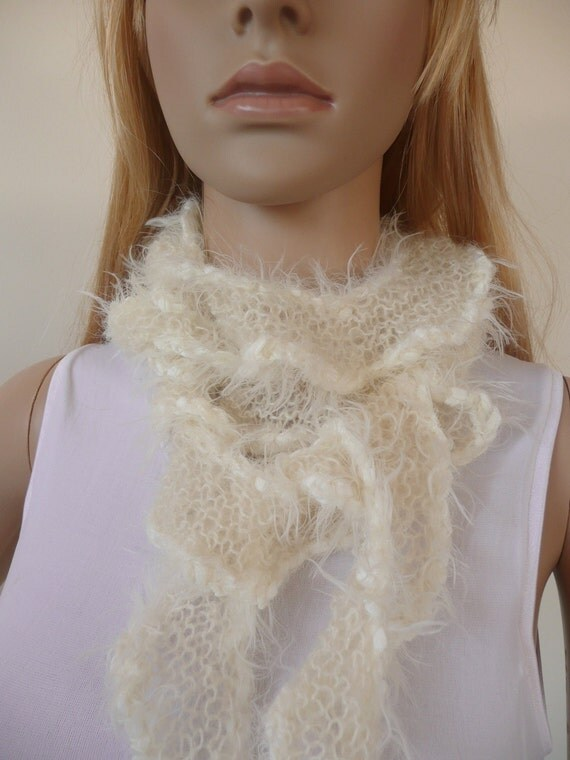 Ruffle scarf hand knitted in fine kid mohair with tassels in white and winter white - cream, incredibly soft. light and warm