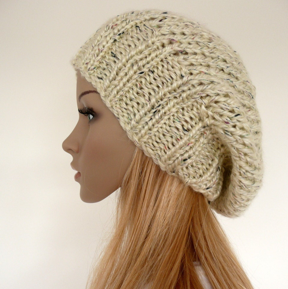 Knit Slouchy Hat Slouch beanie cream slouchy hat Womens hat