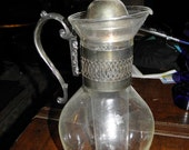 Silver and glass milk/drink pitcher/vintage