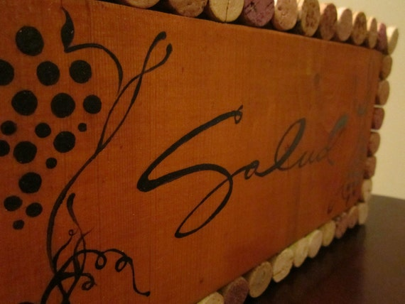 Salud Sign made with Natural Wine Cork and Reclaimed wood