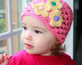 Crochet hat pattern, vintage pink crochet hat with flowers includes 5 sizes from newborn to adult