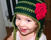 Crochet hat pattern Crochet earflap hat baby pattern green striped hat with pink flower sizes baby to adult