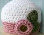 Crochet pattern Vintage inspired crochet hat pattern baby hat pattern baby crochet pattern with flower includes 4 sizes: newborn to adult