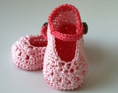 Crochet PATTERN pink mary janes baby booties (56)