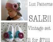 Crochet PATTERN Vintage beanie and booties set SALE 2 for 7 dollars