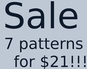 CROCHET PATTERNS any 7 crochet and amigurumi patterns for 21 dollars
