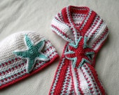 Baby crochet  pattern beanie and scarf pattern set with Crochet star (100) sizes baby to adult