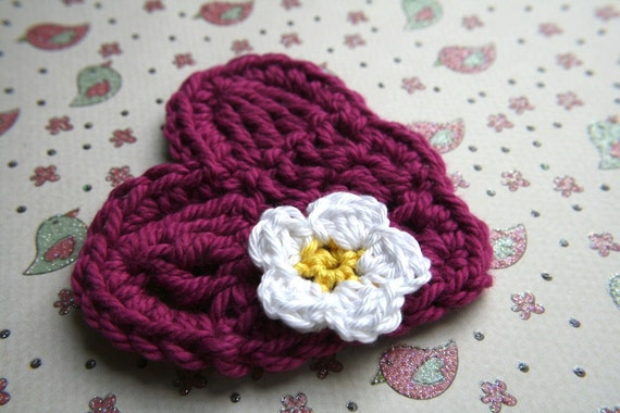 PDF Pattern crochet blossom and two different heart appliques (69)