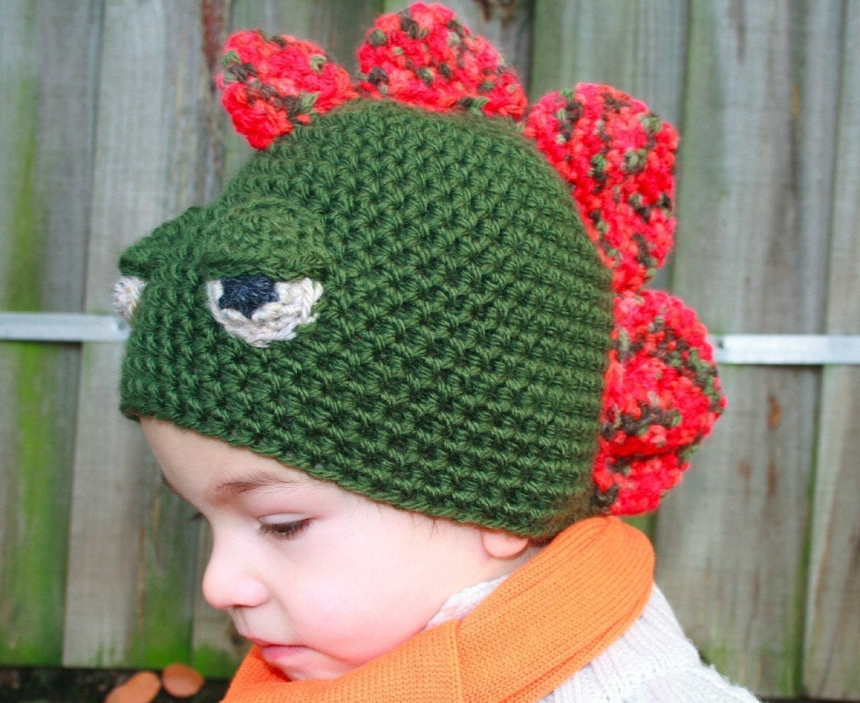 Free Crochet Pattern For Dinosaur Beanie : CROCHET HAT PATTERN crochet dinosaur hat pattern baby boy