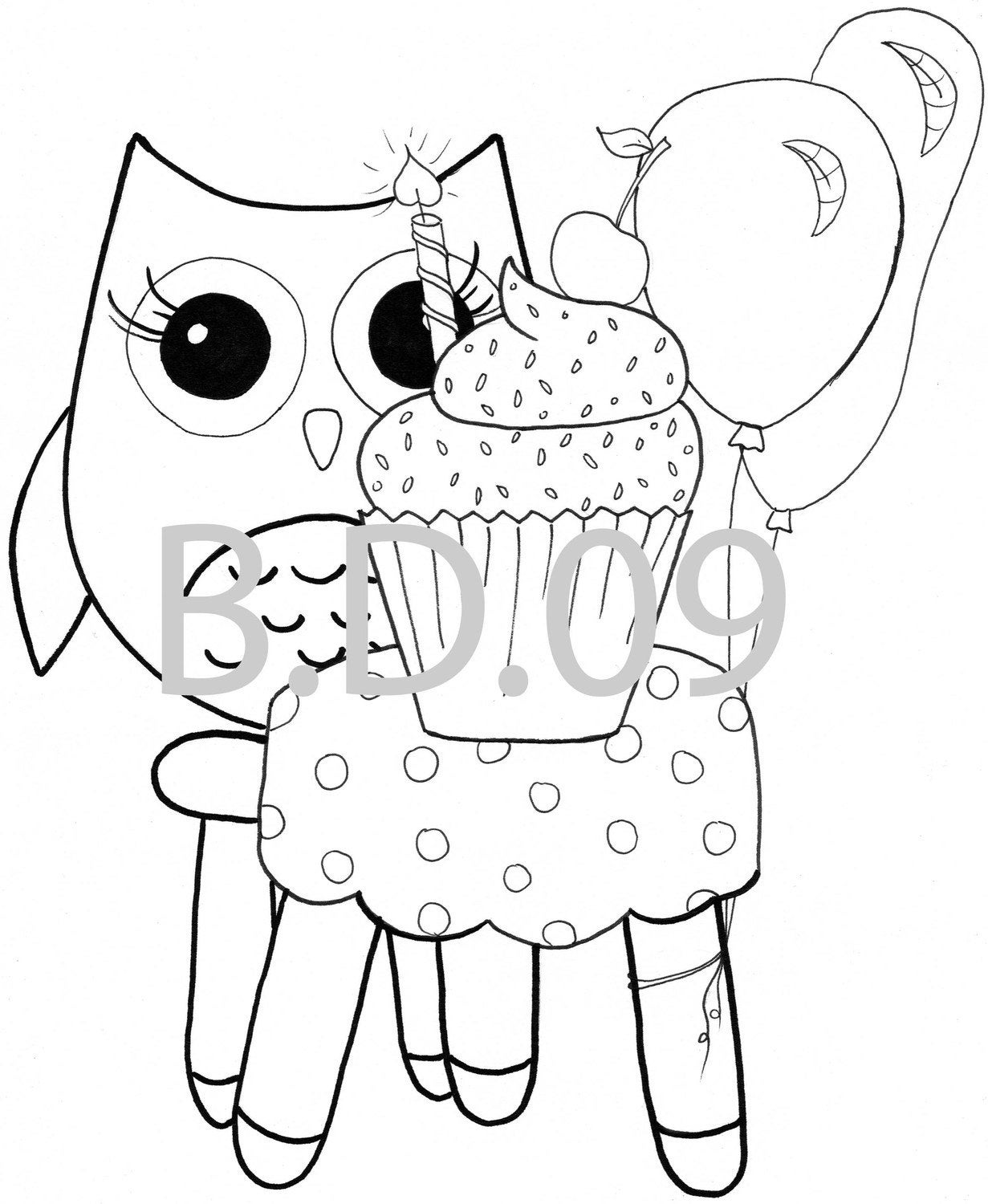Coloring pages Owl Themed 10 pc