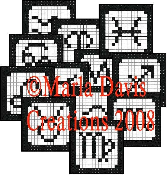 Crochet Patterns For Zodiac Signs : Items similar to Zodiac Filet Crochet Coaster Patterns on Etsy