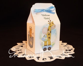 Giraffe Baby Boy - Baby Shower Favor Box Kits - Set of 12