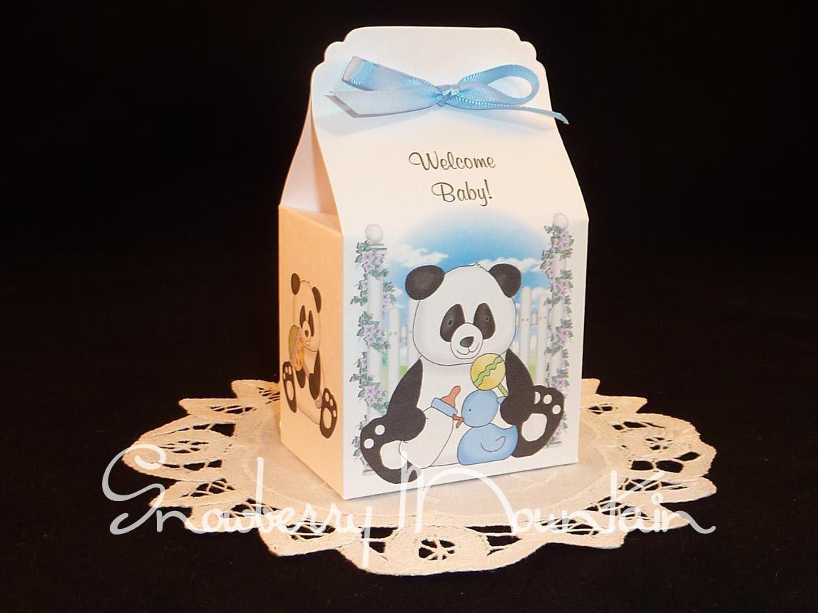 panda bear baby boy baby shower favor boxes by snowberrymountain