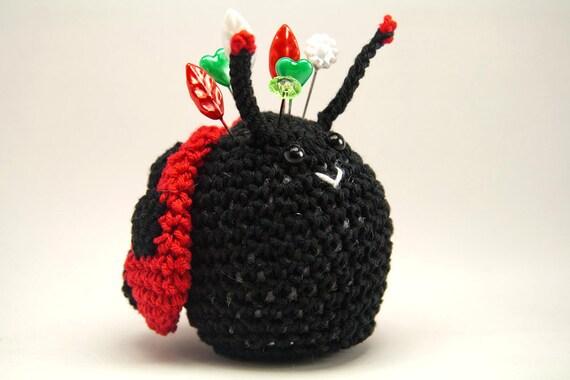 Crochet Ladybug, Black and Red Ladybug Pincushion