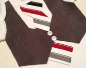 Grey vest with red and grey stripped tie.  Sizes range from newborn to 4T