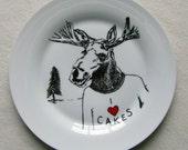 Hand Drawn Plate - Moose loves Cake