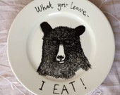 Plate - Set of 4 Hand drawn sideplates - Hungry Bear