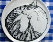 Hand Drawn Serving Plate - Cat Sleeping