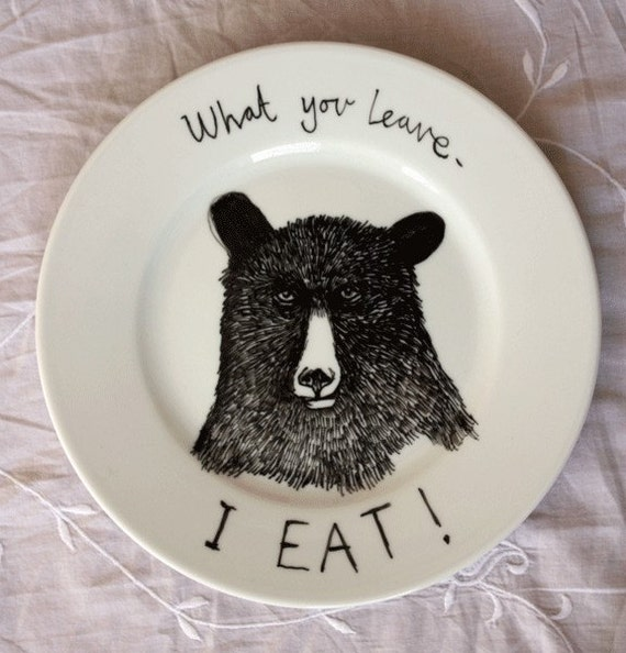 Hand Drawn Side Plate - Hungry Bear