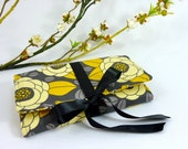 Jewelry Roll | Design Your Own Travel Accessory for Her | Custom Bridesmaid Gift | Yellow & Gray Aviary Fabric Collection | Bloom Granite