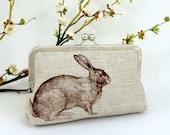 Linen Enchanted Rabbit Clutch in Chocolate