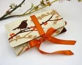 Travel Jewelry Organizer. Womens Jewelry Roll. Woodland Wedding Gift. Woodland Bride. Autumn and Fall Fabric. Orange and Brown Bird Fabric