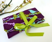 Jewelry Roll | Design Your Own Travel Accessory for Her | Custom Bridesmaid Gift | Plum & Aqua Aviary Fabric Collection | Sparrows Lilac