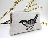 Black Bird Clutch. Black Sparrow. Natural Linen Clutch. Screen Printed Evening Bag. Gift for Bird Lover. Woodland Wedding. Bridesmaid Clutch