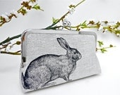Black Rabbit Clutch. Natural Linen Clutch. Screen Printed Rabbit. Bunny Clutch. Gift for Animal Lover. Woodland Wedding. Bridesmaid Gift