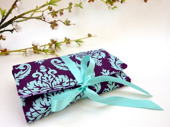 Purple Jewelry Roll. Travel Jewelry Roll-Up. Jewelry Organizer. Jewelry Case. Personalized Gift for Her. Custom Bridesmaid Gift. Plum Aqua