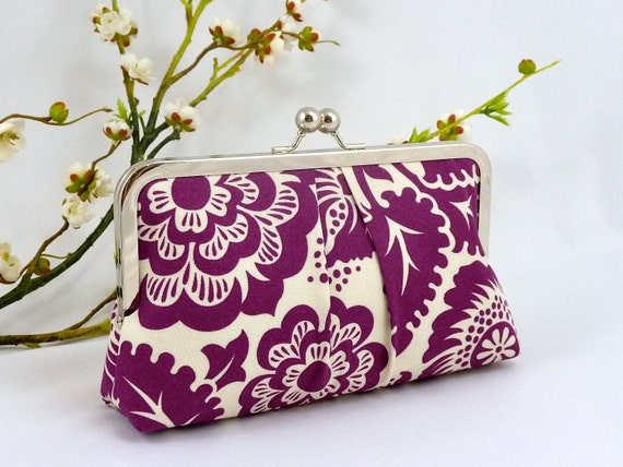 Plum Purple Clutch. Floral Clutch. Amethyst Clutch Purse. Purple Evening Bag. Bridesmaid Gift Clutch. Purple and Gray Wedding. Gift for Her