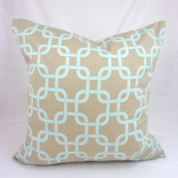 Designer Pillow Cover in Gotcha Powder Blue - 18x18 or 20x20 inch (Light Aqua Chain Link on Gray/ Taupe)