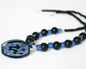 Blue and black beaded nec...